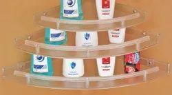 Plastic Transparent 3 Piece Multipurpose Corner Shelf, For Home, Size: Adjustable