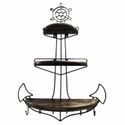 Medieval Edge Brown Vintage Ware Anchor Shaped 3 Layered Wall Mounted Shelf For Showpiece, For Home, Size: 105 Cm X 74 Cm