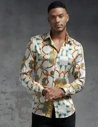 Party Wear Printed Men Designer Shirt