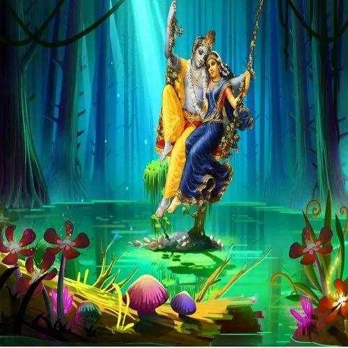 Non Woven Multicolor Radha Krishna Wallpaper 3d For Home Rs 60 Square Feet Id 23092077462