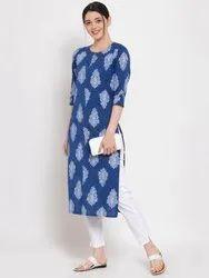 Women Printed Straight Cotton Kurta (Blue)