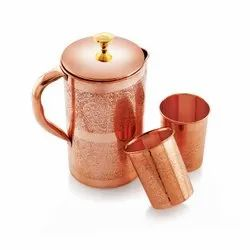 Pipal carving Copper Jug Set, For Home, Capacity: 1.3 litres