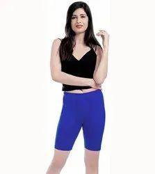 Cotton Lycra Plain Blue Capri Legging, Size: 34 inch