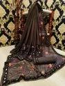 Printed Red Fancy Saree, Handwash, 6 M (with Blouse Piece)
