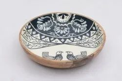 Brown Round Printed Wooden Bowl, For Restaurants, Size: Small