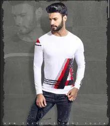 Full Sleeves Printed Mens White Cotton T Shirt, Size: Medium