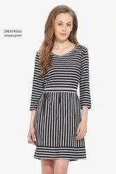 Ladies Black Stripe Printed Dress