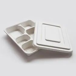Aastha Paper 5 Compartment Mini Meal Tray, Rectangle, Size: 30.5 X 24.8 X 3 Cm