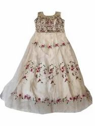 Party Wear White, Pink and Green Ladies Sleeveless Anarkali Suit