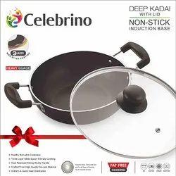 Celebrino Deep Kadhai with Glass Lid 24CM