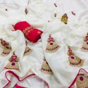 Ladies Designer Moss Chiffon Saree