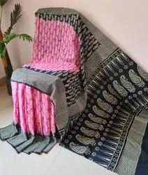 hand block printed pure cotton sarees