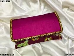 Raw Silk Printed Ethnic Clutch Bag