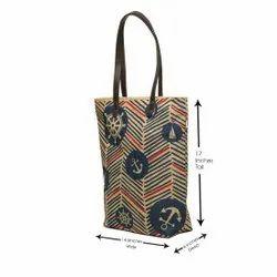 Long Handle Blue Designer Jute Hand Bags, Size/Dimension: 17 X 14 X 4 Inches