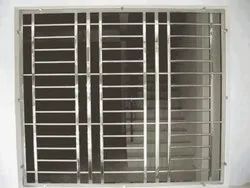 Polished Silver Stainless Steel Window Grill, Square