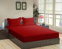 Satin Stripe Dyed Red Bed Sheet