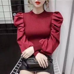 Female 4 Color Imported Semi Woolen Top - Girls Top - Ladies Top - Fancy Top, Size: Free