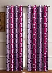 Clover Multicolor Knitted Printed Door & Window Curtains, Size: 7 Ft