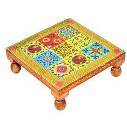 Wooden Bajot Chowki Stool Pooja Accessories Home Decorative Item Handmade Bajot Pooja Items