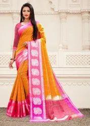 Party Wear Ladies Chanderi Silk Cotton Saree, With Blouse, 5.5 m