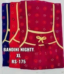 Full Length Cotton Ladies Nighties Bandhani Type, X LARGE