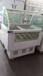 Ice Cream Display Freezer Curve Glass Sliding Door