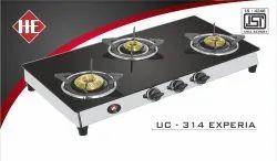 UC314 Experia Three Burner Black Glass Stove, For Kitchen