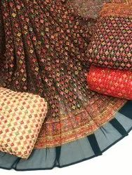 Long Width Georgette With Heavy Embroidary