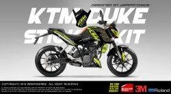 Ktm Duke Green Design 390 Full Body Wrap,Decals,Sticker,Kit