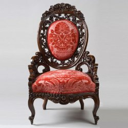 Mannat Red And Brown Antique Teak Wood Chair