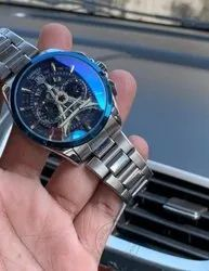 Eiffel Tower Edition Silver Chain Chronograph Blue Dial Stainless Steel Watch For Man