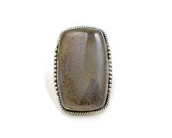 925 Sterling Silver Black Septarian Gemstone Adjustable Ring