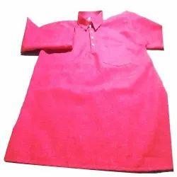Pink Casual Mens Plain Cotton Short Kurta