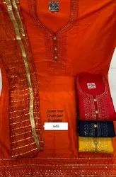 Sunil Textile Chanderi Party Wear Embroidery Chaderi Suit With Dupatta, Handwash