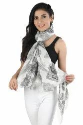 Polyester chiffon with lurex Pinted Scarves