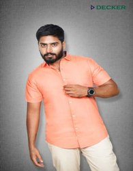 Decker Peach Mens Plain Cotton Shirt, Handwash, Size: Small