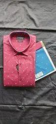 Tecido Collar Neck Men Printed Cotton Regular Wear Shirts, Machine wash