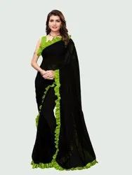 Plain Georgette Parrot Green and Black Ruffle Saree with Blouse Piece