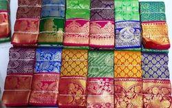 Contrast Big Bordered Silk Saree