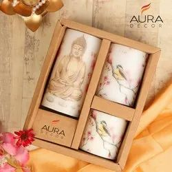 AuraDecor Buddha Printed Pillar Candles