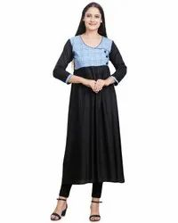 Designer Cotton Rayon Kurti, Wash Care: Machine wash