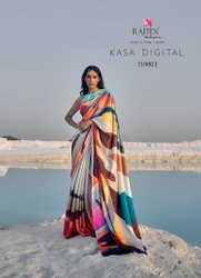 Rajtex Launch Kasa Digital Satin Crepe 159001-159009 Series Digital Print Saree