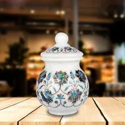 White Flower Print Marble Inlay Pot