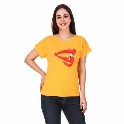 Women Casual Wear Yellow Round Neck T-Shirt, Size: S.M.L.XL