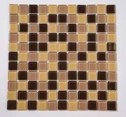 Stone Decor Flooring Brown Crystal Glass Mosaic, For Interior, Thickness: 6 - 8 Mm