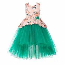 Printed Net Kids Girls Green High Low Party Wear Dress, Size: 2-12 Years
