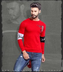 Full Sleeves Cotton Mens Red Round Neck T Shirt
