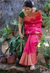 Weawing Pink Designer Wedding Wear Silk Saree, Saree Length: 5.5 M (separate Blouse Piece), With Blouse