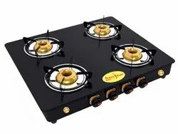 Four Burner Glass Top Gas Stove, For Kitchen, Model Name/Number: 4BB104M