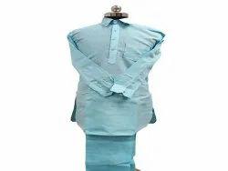 Sky Blue Casual Cotton Mens Pthani Suit
